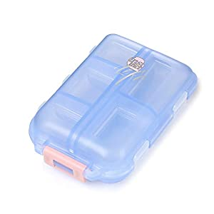 Daimay Portabler Reiseveranstalter Pill Box Taschenspender Rezept- und Medikamentenerinnerung Schmuck Schrauben Behälter – 10 Fächer – Transluzentes Blau