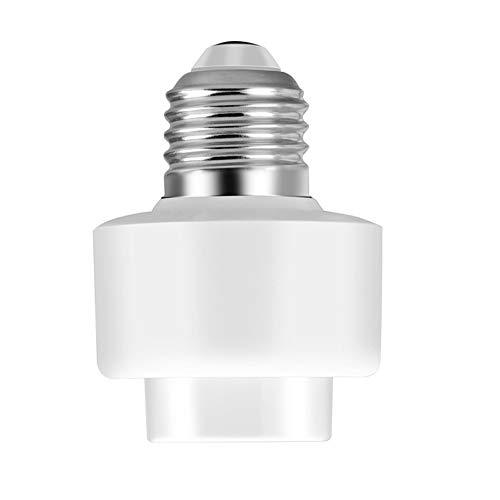 E27 WIFI Smart Light Sockel, Glühlampe Drahtlose Lampenfassung Home Fernbedienung, Kompatibel mit allen E27 Glühlampen(Weiß) -
