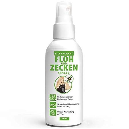 Silberkraft Floh – und Zeckenspray 100 ml für Hund, Katze und andere Haustiere – ideales Anti-Zecken Mittel – gegen Flöhe, Zecken, Parasiten, Ungeziefer