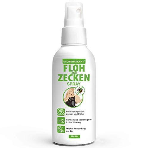Silberkraft Floh & Zeckenspray, 100% Bio Zeckenspray für Hund und Katze, Flohspray für Katzen, Hunde und andere Haustiere, ideales Anti-Zecken-Mittel gegen Zecken, Flöhe, Parasiten -