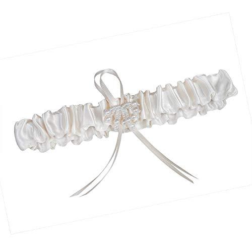 weddix Strumpfband Romantik in Creme Weiß für die Braut - stilvoller Strumpfhalter mit Schleife und kleinen Perlen als Romantisches Brautaccessoire zur Hochzeit