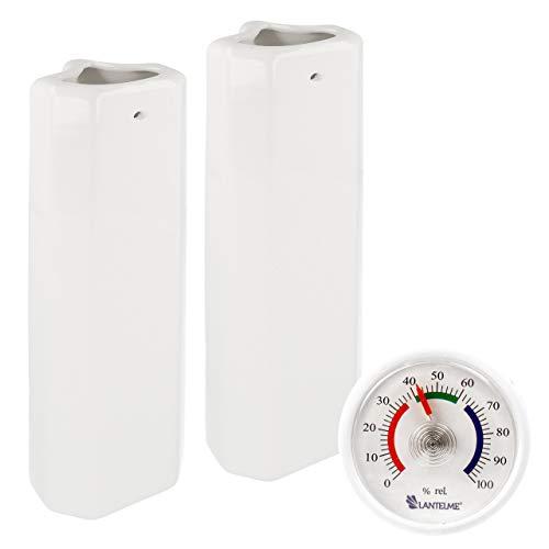 Lantelme Humidificador de calefacción de cerámica, 2 Unidades para radiadores Acanalados y 1 Unidad Hidrómetro analógico en el Set 7680