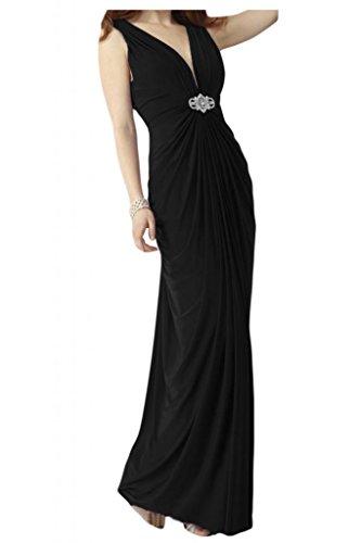 Toscana sposa alla moda V-taglio Chiffon sera damigella Party Ball Bete vestimento per vestiti Nero