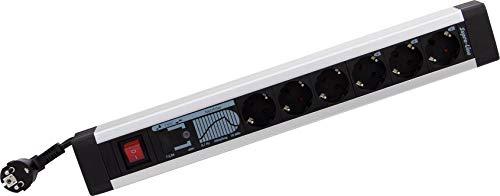 REV Ritter Steckdosenleiste Ueberspannungsschutz aus Aluminium 6fach - Mehrfachsteckdose mit Schalter - schützt Ihre Geräte bei Blitzeinschlägen - perfektes Bild, ungetrübtes Klangerlebnis durch Netzfilter