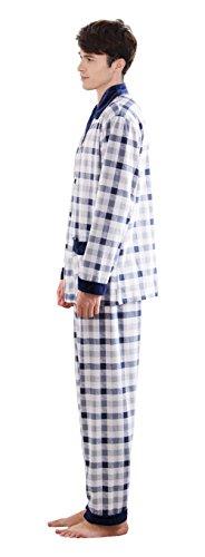 Herren Klassische Schlaf Und Entspannungsverschleiss Langes Hulsen Knopf  Hemd Und Hosen Baumwoll Pyjamas Blue-3 ...