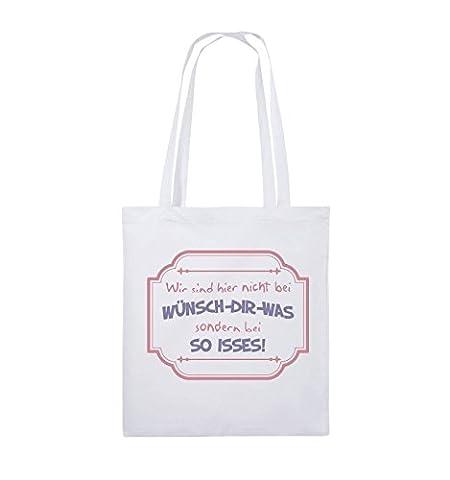 Comedy Bags - Wir sind hier nicht bei wünsch dir was wir sind hier bei so isses! Deluxe - Jutebeutel - lange Henkel - 38x42cm - Farbe: Weiss / Rosa-Violet