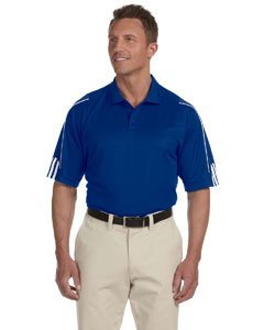 adidas A76 Mens ClimaLite 3-Stripes Cuff Polo - Collegiate Royal & White, XL (Shorts Adidas Piping)