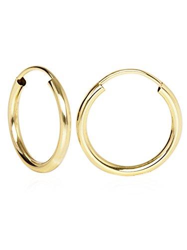 Ohrringe Gelbgold 585 Gold (14 Karat) Ø 15mm Goldcreolen Goldohrringe Ohrschmuck Damenschmuck Geschenke Für Frauen Leyla C-04113-G401-15mm/2mm ()