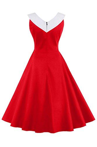 Babyonline Damen 50er Marine-Stil Sommerkleid V-Ausschnitt Retro Vintage Kleid Casual Faltenrock Abendkleider Partykleider S-4XL Rot