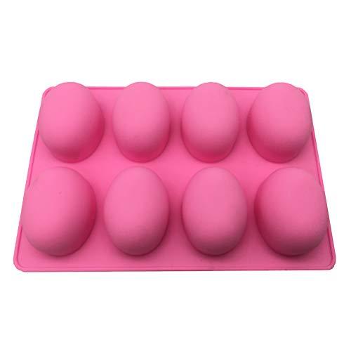 BESTONZON 8 Hohlräume Oval Ei Form Silikonform DIY Ostereier Kuchen Fondant Gelee Schokolade Dessertform Küche Backen Werkzeug (Zufällige Farbe) (Ei-form Kuchen-form)