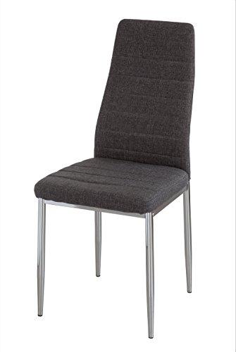 Homely - Silla de comedor Básica, tapizada tela GRIS con patas de metal cromadas