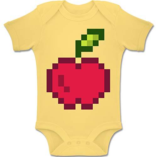 Kostüm Nerd Kindergarten Babys - Shirtracer Karneval und Fasching Baby - Pixel Apfel - Karneval Kostüm - 6-12 Monate - Hellgelb - BZ10 - Baby Body Kurzarm Jungen Mädchen