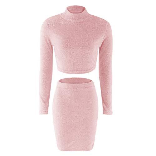 Dotbuy Pullover Strick Kleid Damen Lang Set, Elegant Stretch Langarm Kurz Top und Hohen Taillenröcke Bleistift Rock 2 Teiliges Set (S, Rosa)