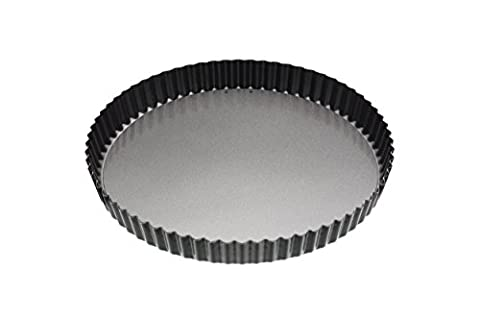 KitchenCraft MasterClass Non-Stick Large Fluted Flan Tin/Quiche Pan with Loose Base, Black, 28 cm