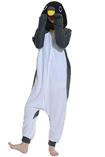 Jumpsuit Onesie Tier Karton Fasching Halloween Kostüm Sleepsuit Cosplay Overall Pyjama Schlafanzug Erwachsene Unisex Lounge Kigurumi Grau Pinguin for Höhe 140-187CM (Halloween Kostüme Erwachsene Onesies)