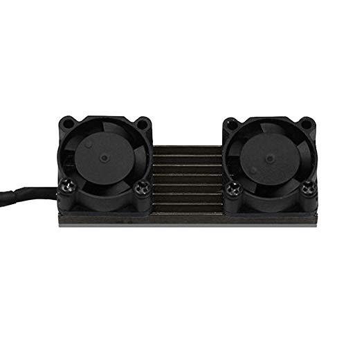 Shentesel PCIE M.2 SSD 2280 Dual Active Cooling Fan Heatsink Kühler Fin Thermal Pad Schwarz schwarz (Cd-recorder Dual-tray)