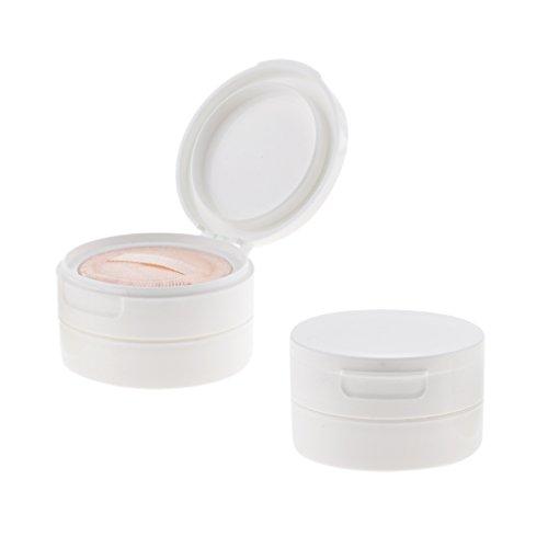 (D DOLITY 2x 50g Puder Dose mit Puderquasten aus Kunststoff, Leer zum Nachfüllen, Foundation Make-up Pulver Box Container - Weiß)