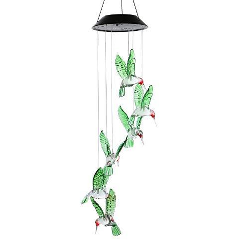 Winbang Windspiele, Farbwechsel LED Solar Windspiel LED Wechselnde Lichtfarbe Sechs Kolibri-Windspiele Mehrfarbiger Stufenwechsel -
