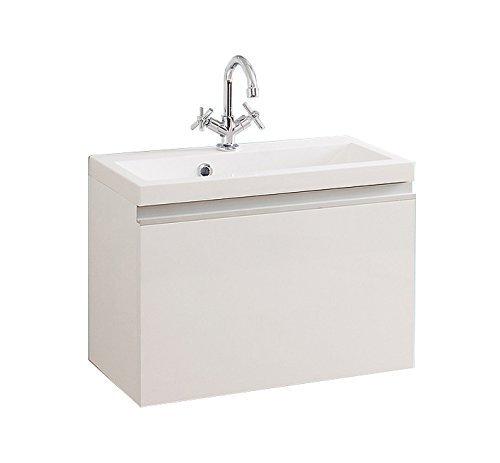 Quentis Badmöbelset Faros, Breite 60 cm, Waschbecken und Unterschrank, Front und Korpus weiß glänzend -