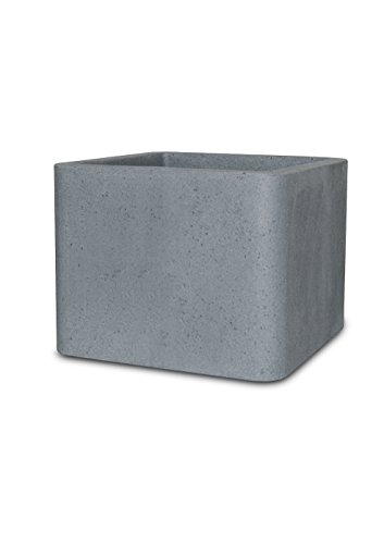Smart-Planet® hochwertiger Kunststoff Pflanztopf / Blumentopf Steinoptik QUBE1 Quadrat Eckig Blumenkübel Würfel 40x40 Zement - Grau