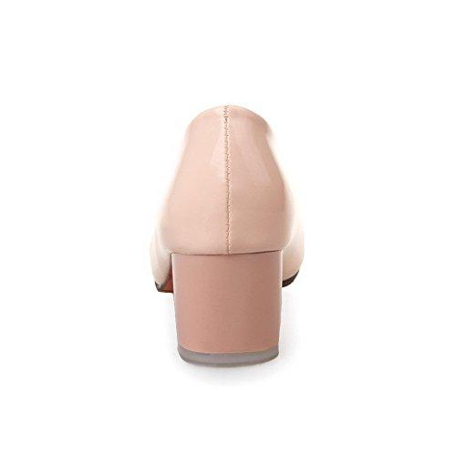 AllhqFashion Femme Pu Cuir Mosaïque Tire Rond à Talon Correct Chaussures Légeres Rose