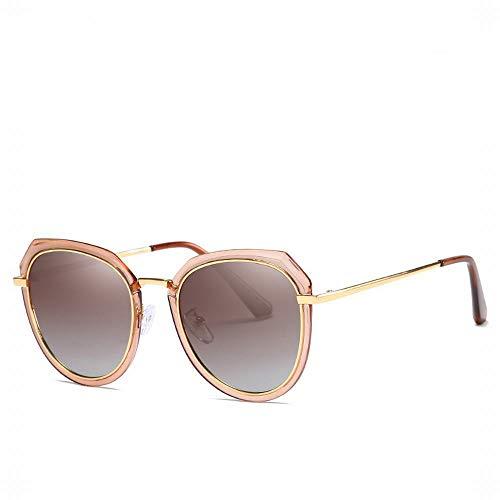 MeiqiLN Brille Neue Trend Koreanische Version Von Polarisierten Sonnenbrillen Metall Europa Und Amerika Damen 5,7 * 1,96In Braun
