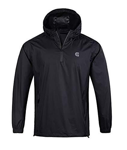SwissWell Herren Regenanzug wasserdicht leicht mit Kapuze Regenbekleidung für Golf, Wandern, Reisen (Jacke & Hose-Anzug) - Schwarz - Groß
