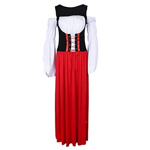 P PRETTYIA Lange Midi Dirndl Set Trachtenkleid Bayerische Kostüm für Oktoberfest und Karneval - XL