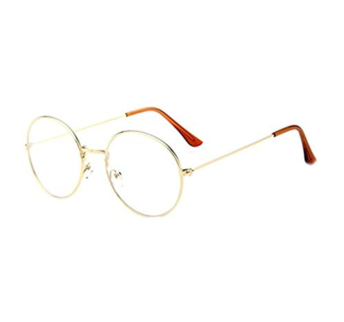 La vogue Brille Nerdbrille Retro Rund Unisex Gold Linsebreite52mm -