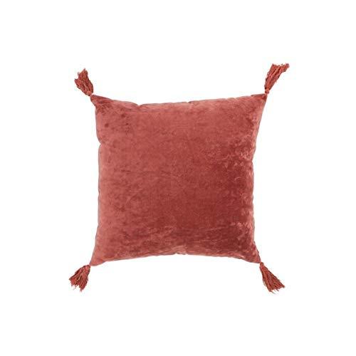Coussin pompon frange en coton-velours rouge buzet 45x45 - African Style - Hacienda - Zen - Oasis...