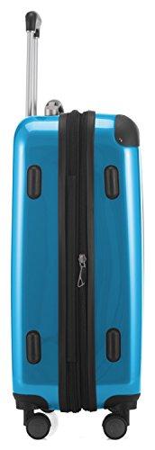 HAUPTSTADTKOFFER Alex - NEU 4 Doppel-Rollen Handgepäck Hartschalen-Koffer Trolley Rollkoffer Reisekoffer, 55 cm, 42 L, Cyanblau -