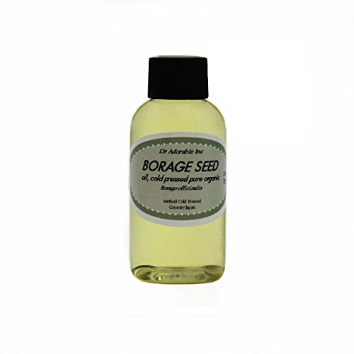 Borage Seed Oil 20% GLA Pure Organic Cold Pressed Virgin by Dr.Adorable 2 Oz With Glass Dropper