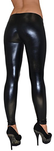by-tex Damen Leggings Leggins Hose für Damen in Leder Optik schwarz bis Übergröße L55