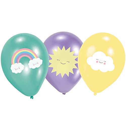 amscan 9904307 6 Ballons Rainbow & Cloud, Regenbogenfarben (Der Cloud 9 Kostüm)