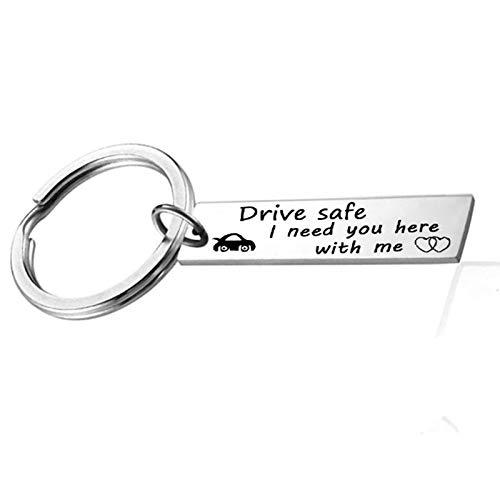 AmDxD Schlüsselanhänger Edelstahl Schlüsselring Für Damen Herren Buchstaben Drive Safe I Need You here mit me. Dog Tag Anhänger Silber Schlüsselbund Auto-Schlüsselring
