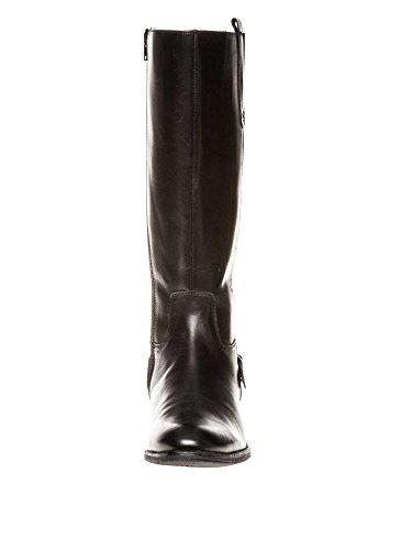 sheego Femmes Bottes mollet large cuir véritable Grande taille Noir