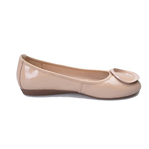 VogueZone009 Femme Verni Tire Rond Non Talon Couleur Unie Chaussures à Plat Abricot