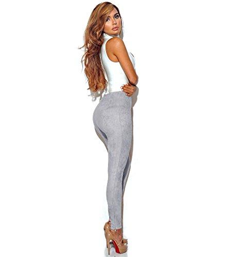 NiSeng Donna Pants Lungo Slim Legging A Vita Alta Pantaloni Scamosciato Leggings Grigio
