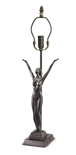 Base-Tischleuchte Tiffany Typ B606Tischleuchte aus Harz und zamak mit Statue Bild einer Frau mit offenen Armen