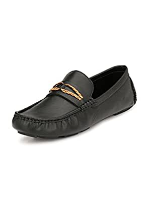 Sir Corbett Men's Synthetic Driving Loafers (10, Black)