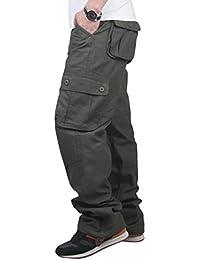 NiSeng Hombres pantalones anchos - Classic Outdoor Slim Fit Pantalon Chinos pantalón de trabajo