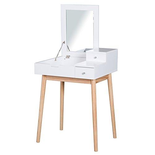 HOMCOM Schminktisch Frisiertisch Kosmetiktisch mit aufklappbarem Spiegel Holzfüße Weiß 60 x 50 x 85,5cm