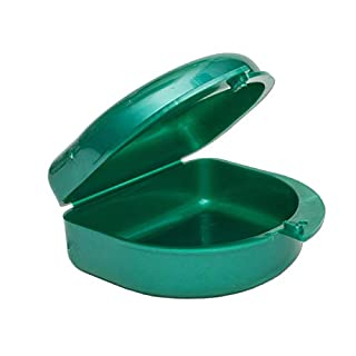 Gum Shield Case - Mouth Guard Gumshield Box for Ortho Retainers, Sports Dental Appliances, Dentures & More (Green)