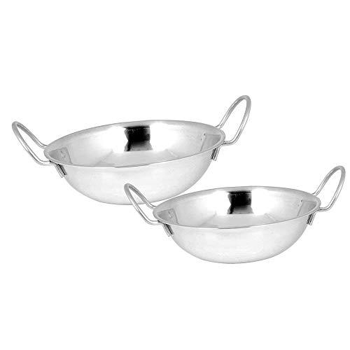 Set von 2 Premium Edelstahl Serving Balti Dishes in Größe 19cm | Erhöhte Felge Serveware Kosma Serving Set