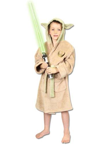 Star Wars Kinder Yoda Bademantel, Creme und Grun, Grobe klein, 100 Percent (Meister Yoda Kostüm)