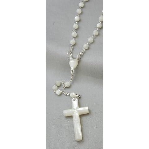 Madreperla rosario al Cuore e Croce perla 36 cm - Cuore Rosario Croce
