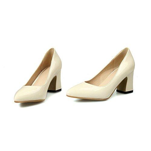 VogueZone009 Femme Couleur Unie à Talon Correct Tire Pointu Chaussures Légeres Beige