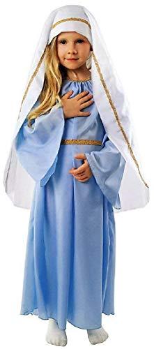 Elegantes Maria Kostüm Krippenspiel Kinder weiß-blau - Maria Kostüm Mädchen Kind Gr. 110 bis 140 (134/140)