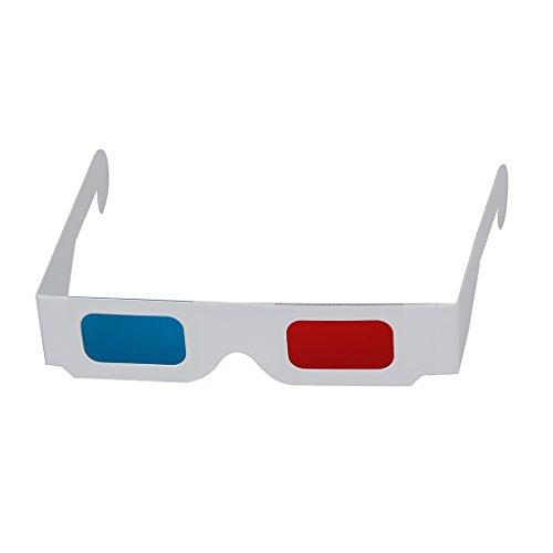 SODIAL(R) 10 Paare von Rot / Cyan Karton 3D - Brille
