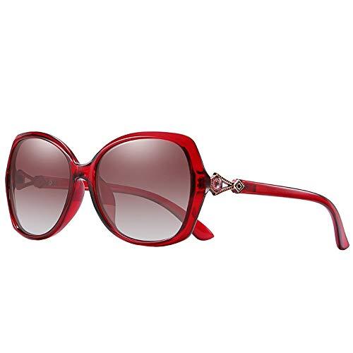 WULE-RYP Polarisierte Sonnenbrille mit UV-Schutz Vintage Oval Polarized Sonnenbrillen für Frauen, Trendy Sonnenbrillen Superleichtes Rahmen-Fischen, das Golf fährt (Farbe : Weinrot)
